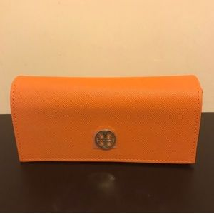 Tori Burch sunglasses case. Orange with logo.